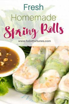 Easy Vietnamese Recipes, Asian Recipes, Ethnic Recipes, Chinese Recipes, Frugal Meals, Easy Meals, Vietnamese Fresh Spring Rolls, Viet Food, Summer Rolls