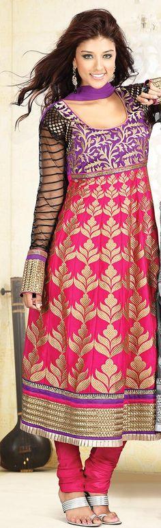 $188.38 Pink Cotton Embroidery Anarkali Salwar Kameez 23518