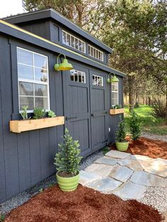 One Room Challenge - Modern Rustic Office - The Reveal black painted exterior ideas diy ideas hangout ideas interior ideas painted ideas storage ideas workshop Pool Shed, Backyard Sheds, Outdoor Sheds, Backyard Greenhouse, Backyard Studio, Modern Rustic Office, Modern Shed, Shed Exterior Ideas, Shed Siding Ideas