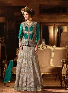 Buy Green Banglori Silk Indo Western Lehenga Choli 80023 online at lowest price from vast collection at m.indianclothstore.c.