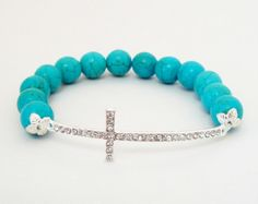 """Blue Turquoise Silver Sideways Cross Stretchy Beaded Elastic Bracelet, Fits up to 8.0"""" Bridesmaid Gift"""