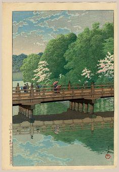 """Benkei Bridge with Cherry Blossoms, Akasaka"" by Hasui, Kawase"