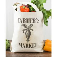 Celebrate EarthDay with this reusable Farmer's Market tote bag.