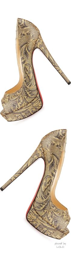 Christian Louboutin Lady Peep Brocade Red Sole Pump, Bronze #CL #Louboutins #Shoes
