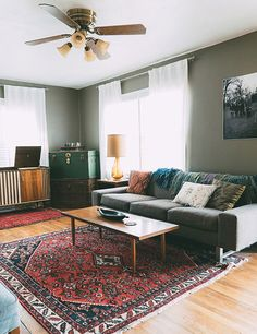 Rug + couch.