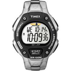 Timex Men's Ironman Traditional 30-Lap Black/ Silvertone Steel Bracelet Watch