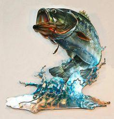 3D Bass Freshwater Fish RefraXions Laser Cut Metal Fisherman Wall Art