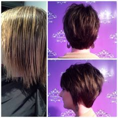 Stylists, Catelyn Hooser, did a corrective color and cut giving her client a new 'do and a rich, darker color. #freshairsalon #freshairstylists #keune #keunehaircosmetics #keunenorthamerica #beforeandafter #brunette #shorthair @catehooser
