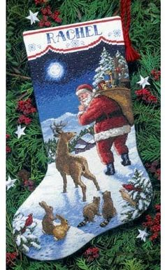 Dimensions Santa's Arrival Stocking - Cross Stitch Kit. Kit contains presorted cotton thread, wool yarn, 14 count white cotton Aida, polyester felt, needle, and