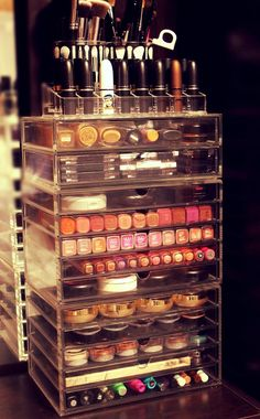 makeup storage- my makeup kit is overflowing so this would be great for my station!