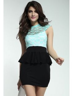 Celestial-Mint-Green-Floral-Lace-Black-Peplum-Dress | buy sexy Club Dresses ,  Club wear online in india | StringsAndMe