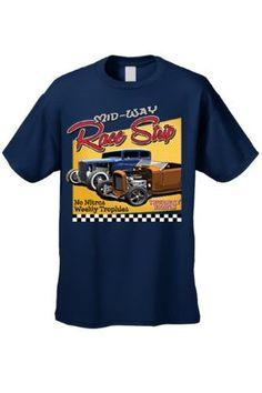 Men's T Shirt Mid-Way Race Strip Short Sleeve Tee, Size: Small, Blue
