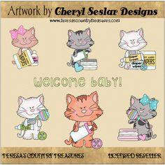 Scruffy #Cat #Babies #Clipart