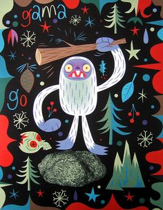 Yeti is having a bad trip. Gama-Go by Tim Biskup Rainforest Project, Murals Street Art, Horror, Fairytale Art, Lowbrow Art, Pop Surrealism, Christmas Art, Rock Art, Les Oeuvres