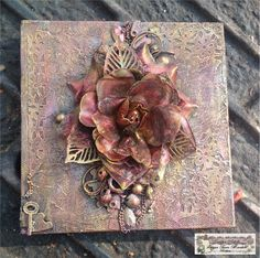Mini Mixed media Canvas with Fabric Flower