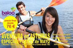 3 Noches + Descenso en canoa Río Sella o Cares desde 76€. Precio por persona