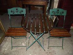 2 Sedie CON Tavolino Pieghevoli DA Giardino IN Metallo E Legno ✿✿✿✿✿ | eBay
