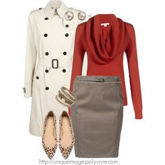 Winter white trench coat, pencil skirt, and a cowl neck sweater for your fall work wardrobe!