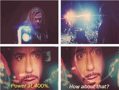 "I so wanted them to bring this back later in the movie!  Can you imagine?  During that final battle, Iron Man's really weak and he's just like ""Thor!  Hit me up!""  And there's the thunder and this random bolt of lightning strikes Iron Man and boom!  We're up to 500%, Jarvis."