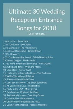Check out these 30 incredible reception entrance songs that will get everyone on. - Check out these 30 incredible reception entrance songs that will get everyone on their feet.