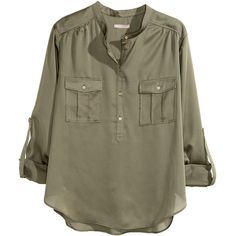 H&M+ Blouse ($17) ❤ liked on Polyvore featuring tops, blouses, shirts, blusas, plus size, khaki green, green blouse, plus size shirts, polyester shirt and long sleeve button shirt