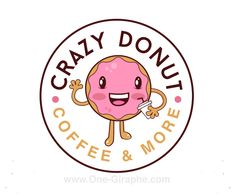 crazy-donut-logo-design-for-coffee-shop