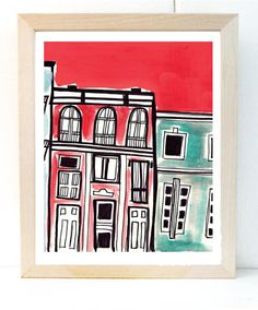 Red and turquoise Philadelphia Row House Print by kristensolecki, $24.00