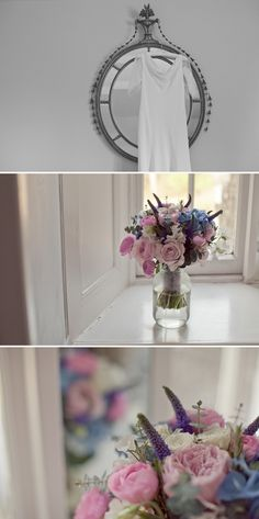 pretty pink and blue wedding flowers bouquet image by Candysnaps Photography