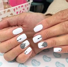 Must Try Nail Designs for Short Nails 2018 Short Acrylic Nails Stylish Nails Chic and fun Nails Short Nail Designs Summer Short Nail Designs Easy. White Nail Designs, Short Nail Designs, Simple Nail Designs, Acrylic Nail Designs, Nail Art Designs, Nails Design, Acrylic Art, White Nails With Design, Nail Design For Short Nails