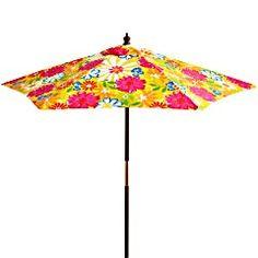 Beautiful Pier 1 Floral Garden Umbrella - 7' / Sombrilla florar lindísima para el jardín #Pier1Outdoors