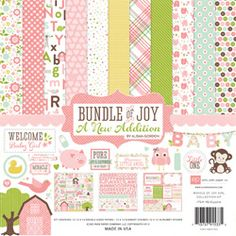 Echo Park Paper Echo Park Collection Kit - Bundle Of Joy/A New Addition - Baby Girl. Discover more accessories by Echo Park Paper at LoveCrafts. From knitting & crochet yarn and patterns to embroidery & cross stitch supplies! Shop all the craft ma Scrapbook Paper Crafts, Scrapbook Supplies, Scrapbooking Kit, Paper Crafting, The Sims, Decoupage, Make Theme, Baby Girl Scrapbook, Fiestas