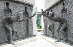 """Detail of """"Freedom"""" by Zeno Frudakis.  This is one of the most heavy handed public works in the city. It leaves nothing to the imagination."""