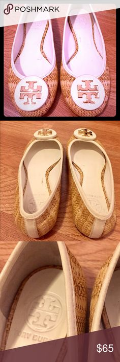Tory Burch Straw Flats White with Straw material and gold Tory Burch emblems. Worn a few times. They are size 5 - Selling for my sister in law. Be sure to check out my other items! Tory Burch Shoes Flats & Loafers