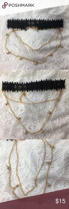 Black lace choker with 2 gold chains Black lace choker with 2 gold chains Jewelry Necklaces