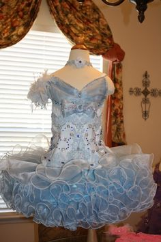 Blue Beauty National Pageant Dress Cupcake Style-National Pageant Glitz Cupcake Dress