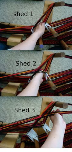 aksed about the sheds on inkle weaving for the patterns I make. Here are the pictures. Shed 1: Slip hand between groups of strands and push down. This is usually a tight shed so a bit more pressure...