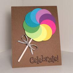 rainbow lollipop birthday card   Etsy