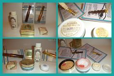 Five vintage Yardley items with four in original packaging ~ Slicker Mascara, Colorsweep Eye Shadow, Country Treats Moisturizer, 1970 ON WHITE Pot o'Gloss Eye Gloss and 1969 Cellophanes BRONZE WHIP Blush. Sold for $40 in 2017.