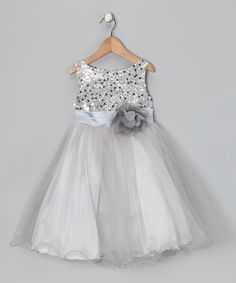 Loving this Silver Sequin Tulle A-Line Dress - Infant, Toddler & Girls on #zulily! #zulilyfinds