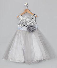 Look at this #zulilyfind! Silver Sequin Tulle A-Line Dress - Toddler & Girls #zulilyfinds