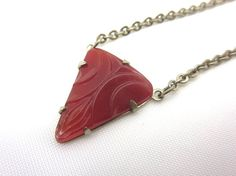 Art Deco Carnelian Glass Necklace by VintageInBloom on Etsy, $30.00