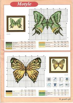 Butterfly cross stitch and chart. <3. Cross-stitch Butterflies