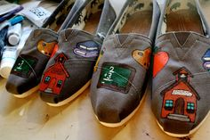 Custom Painted Shoes Teacher Design by ShoeTattoo777 on Etsy, $140.00