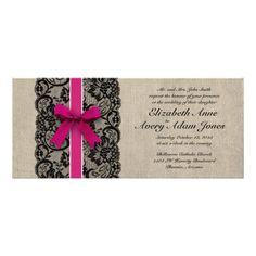 Shop Black and Pink Lace and Burlap Wedding Invitation created by ModernMatrimony. Personalize it with photos & text or purchase as is! Burlap Wedding Invitations, Wedding Stationary, Wedding Wishes, Diy Wedding, Wedding Verses, Wedding Things, Wedding Hair, Perfect Wedding, Wedding Decor
