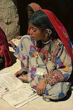 Children reading in a Baluchi school, Pakistan