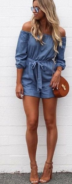 Chambray Off The Shoulder Playsuit                                                                             Source