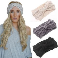 Winter Women Warm Headbands Knitting Hairbands Stretch Knotted Headwear Crochet Bow Elegant Turban Hair Accessories1pc WH231