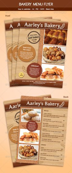 Bakery Menu Flyer Template - Food Menus Print Templates Download here : http://graphicriver.net/item/bakery-menu-flyer-template/5941302?s_rank=1274&ref=Al-fatih