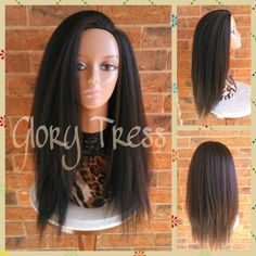 On Kinky Straight Half Wig Natural Yaki Straight Wig African American... ($55) ❤ liked on Polyvore featuring beauty products, haircare, hair styling tools, bath & beauty, black, hair care, wigs, styling iron, flat iron and straight iron