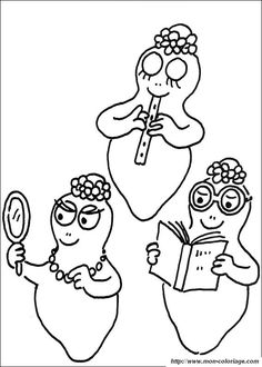 Barbabelle and Barbapapa printable colouring pages
